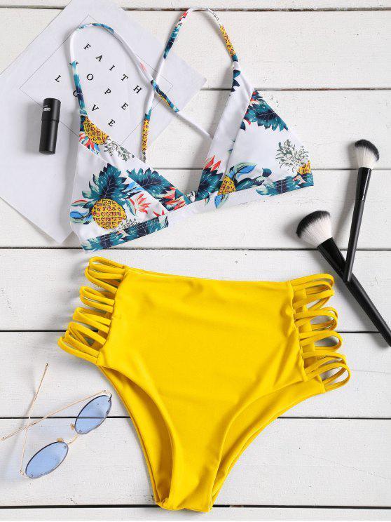 Conjunto de bikini de talle alto estampado tropical con tiras - Amarillo L