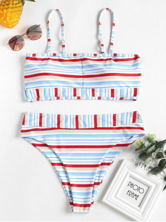 ladies Plus Size Striped High Waisted Bikini Set - WHITE 1X