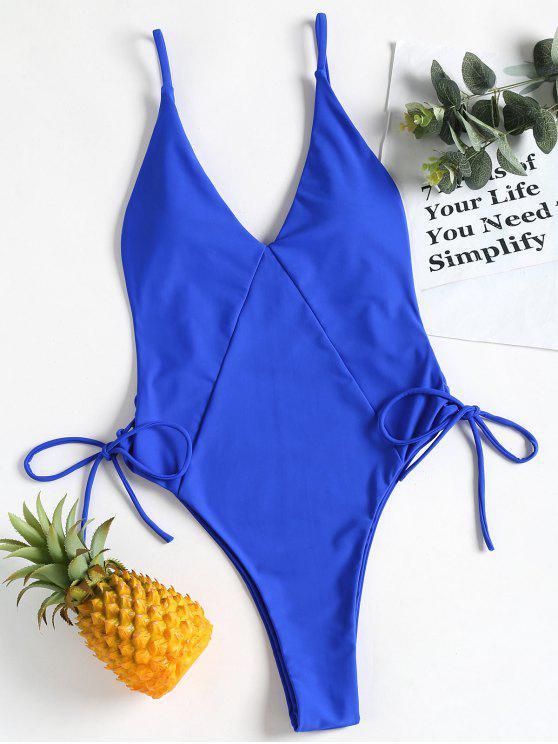Costume Da Bagno Intero Tagliato Alto Con Lacci - Blu Reale M