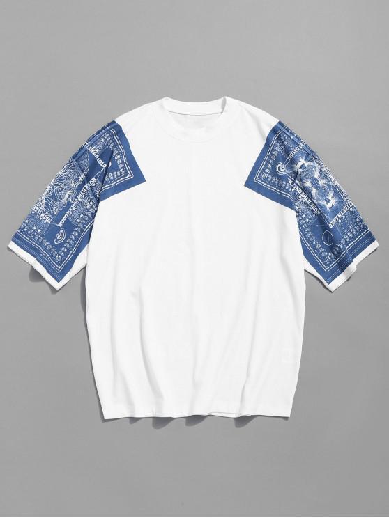 affordable Drop Shoulder Print Cotton Tee - WHITE L