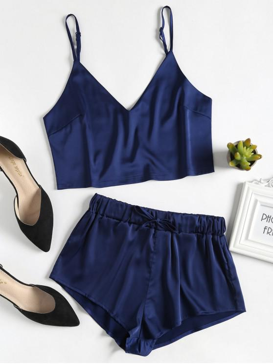 shops Cami Top and Shorts Satin Pajama Set - MIDNIGHT BLUE L