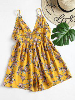 Floral Wide Leg Cami Romper - Yellow M