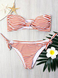 Striped Tie Side Bandeau Bikini - Red Xl
