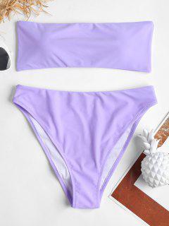 Hohe Bein Bandeau Bikini - Mauve L