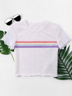 Lässiges Streifen-T-Shirt - Weiß Xl