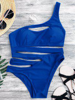 Bandage Asymmetric One Piece Monokini Swimsuit - Blue M
