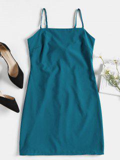 Tie Back Mini Apron Slip Dress - Beetle Green Xl