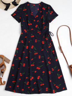 Vestido A Media Pierna Con Estampado De Cerezas - Azul De Medianoche L