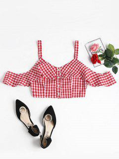 Gingham Buttoned Cold Shoulder Crop Top - Red S