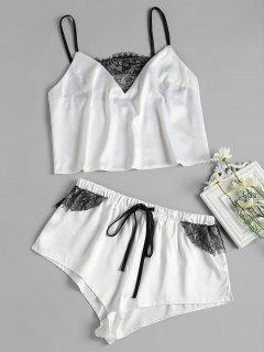 Conjunto De Pijama De Satén Con Detalle De Encaje - Blanco L