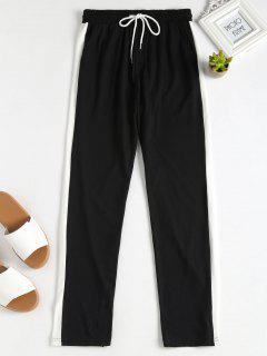 Striped-detail Pajama Pants - Black L