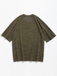 Camo Print Round Neck T-shirt - Camouflage Green M