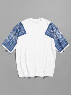 Drop Shoulder Print Cotton Tee - White M