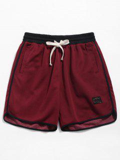 Contrast Trim Drawstring Sport Shorts - Red Wine L