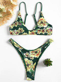 Floral Cami Bra And High Cut Swim Bottoms - Green L