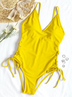 Lace-up One Piece Swimsuit - Yellow L