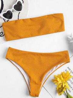 Textured Bandeau Bikini Set - School Bus Yellow L