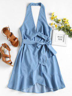 Backless Ruffles Halter Dress - Baby Blue L