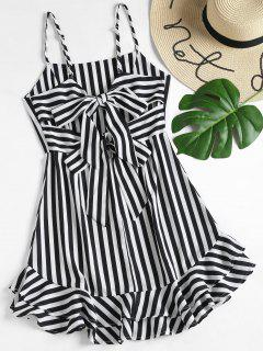 Knotted Back Striped Cami Dress - Black M
