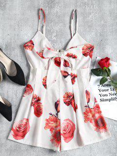 Floral Print Knotted Slip Romper - White M