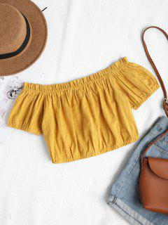 Off Shoulder Ruffles Blouse - Goldenrod L