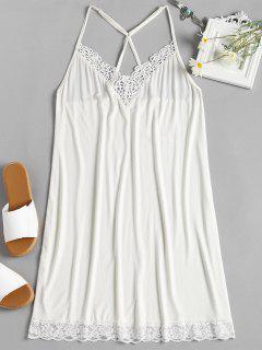 Robe Pyjama à Empiècement En Dentelle - Lait Blanc Xl
