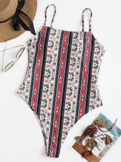 Printed High Cut Swimsuit - Multi L