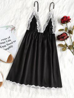 Lace Trim Satin Chemise - Black Xl