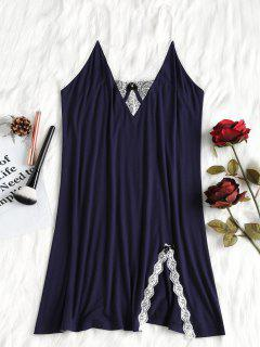 Floral Lace Trim Nightdress - Dark Slate Blue M