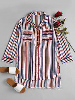 Camisa De Dormir De Raso A Rayas - Multicolor L