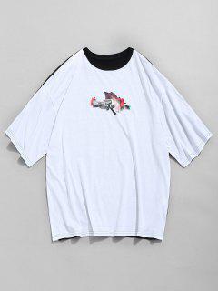 Rose Gun Print Contrast T-shirt - Multi-a S