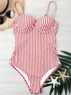 Striped High Cut One Piece Swimsuit - Red S