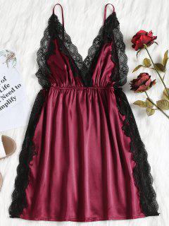 Robe Payjama En Satin à Empiècement En Dentelle - Vin Rouge L
