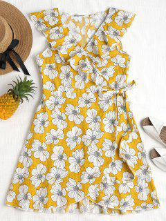 Ruffles Floral Wrap Dress - Mustard L