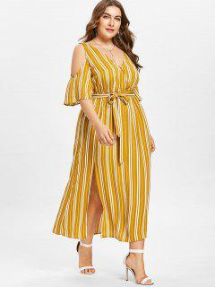 Plus Size Striped High Split Dress - Bee Yellow 4xl