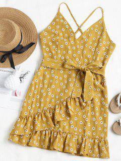 Daisy Ruffle Mini Sundress - Mustard M