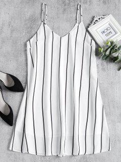 Striped Midi Shift Slip Dress - White L