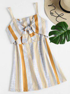 Striped Knotted Cami Dress - Multi L
