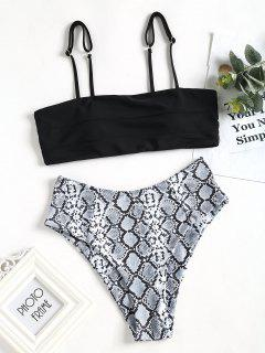 Piel De Serpiente Estampado De Pierna Alta Bikini Con Corte De Escalera Traje De Baño - Negro M