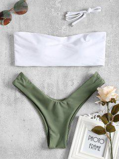 Two Tone High Cut Bikini Swimwear - Green M