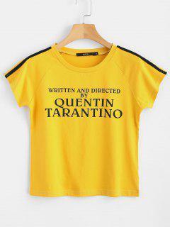 Camiseta Estampada A Rayas Con Letras Parcheadas - Caucho Ducky Amarillo S