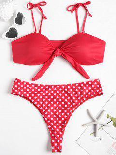 Tie Front Plus Size Bandeau Bikini Set - Red L