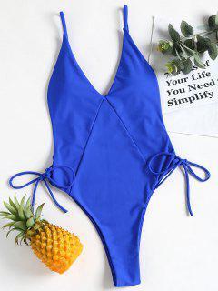 Cami High Cut Lace Up One Piece Swimwear - Royal Blue L