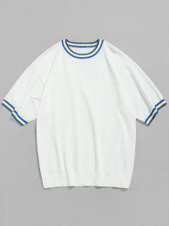 T-shirt En Tricot à Biais Contrastant à Manches Courtes - Blanc M