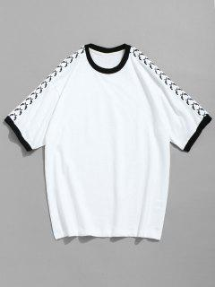 Contrast Short Sleeve Cotton T-shirt - White 2xl
