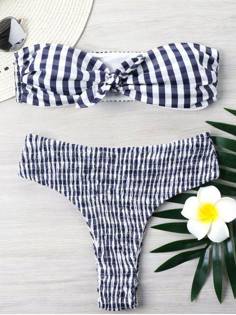 Ensemble Bikini Smocké à Carreaux Échancré - Bleu Foncé XL Mobile