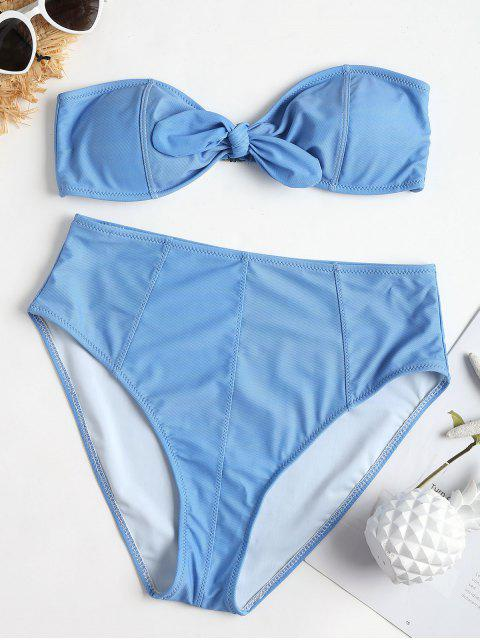 outfits Vintage Bandeau High Waisted Bikini Set - CRYSTAL BLUE S Mobile