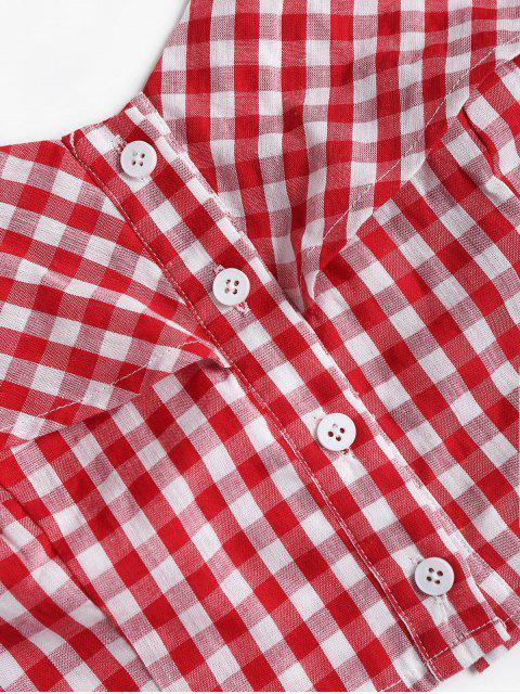 sale Gingham Buttoned Cold Shoulder Crop Top - RED L Mobile