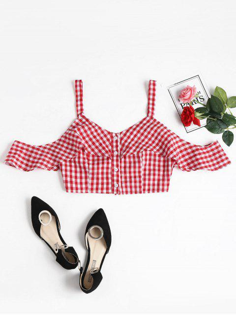 Gingham Knopf KalteSchulter Crop Top - Rot L Mobile