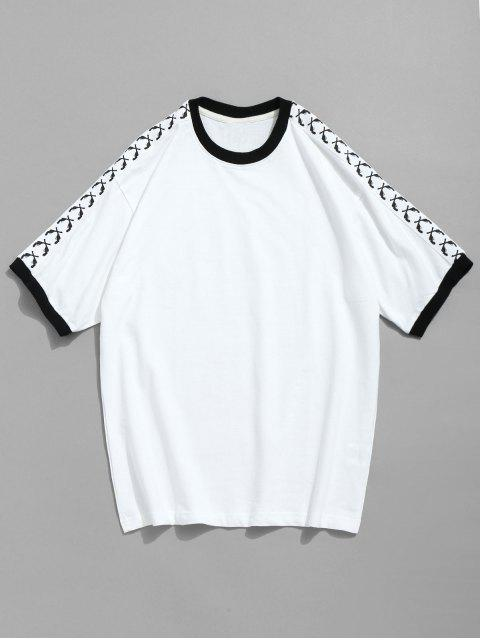 best Contrast Short Sleeve Cotton T-shirt - WHITE 2XL Mobile
